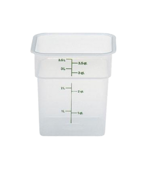 CamSquare® Food Container, 4 quart, 7-1/4 x 7-1/4 x 7-3/8, translucent, green gr