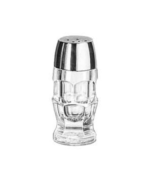 "Salt/Pepper Shaker, 1-1/4 oz., glass with chrome plated plastic top, (H 3-7/8"";"