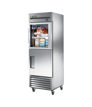 Refrigerator, Reach-in, one-section, (1) glass & (1) stainless steel half doors,