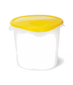 "Storage Container, round, 22 qt., 13-1/8"" x 14"", stackable, deep, easy-grip hand"