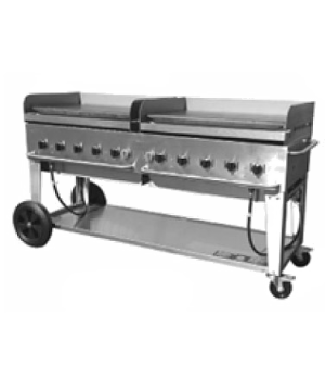 "Outdoor Griddle, mobile, LP gas, 10 burners, 81""L x 28""W, stainless steel  const"