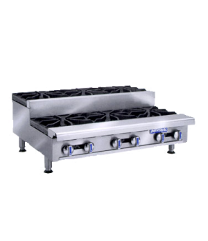 "Hotplate, gas, countertop, 12"", (1) open burner, (1) step-up burner, cast iron g"
