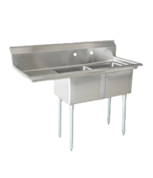 "(25267) Pot Sink, (2) 21"" front to back x 18"" wide x 14"" deep bowls, 8"" center f"