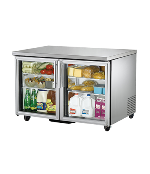 Undercounter Refrigerator, 33-38° F, stainless steel top & sides, (2) Low-E glas
