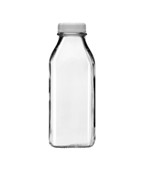 Milk Bottle, 33-1/2 oz. capacity, with lid, glass, clear (6 each per case)