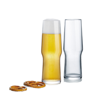 "Pilsner Glass, 16 oz., 8-1/8"" H, glass, sodo material, (2-1/4"" T, 2-3/4"" M, 2-1/"