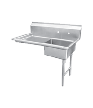 "(28485) Dishtable, soiled, 48""W, right side, with sink, stainless steel"