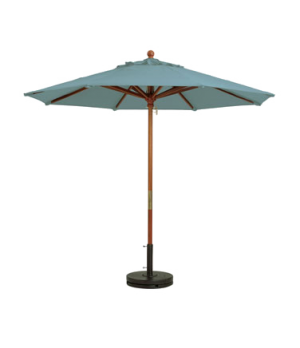 "Market Umbrella, 9 ft, 1-1/2"" wooden pole, Outdura fabric, spa blue"
