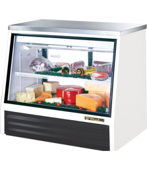 Counter-Height Deli Case, see-thru, stainless steel top, Low-E front & (2) rear