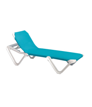 Nautical Chaise, stackable, without arms, adjustable sling, white frame, power w
