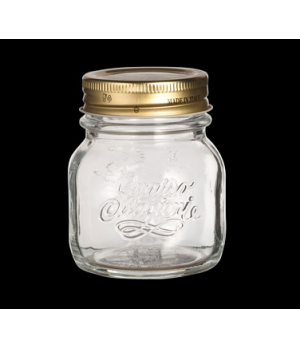 "Stagioni Jar, 5 oz., 3-1/4"" dia. x 3-1/4""H, clear, with metal lid, Bormioli, Qua"