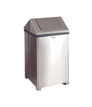 """Wastemaster Waste Receptacle, 14 gallon, 14"""" sq x 26"""" H, hinged top, stainless s"""
