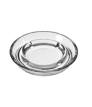 "Safety Ash Tray, 5"" diameter, clear glass"