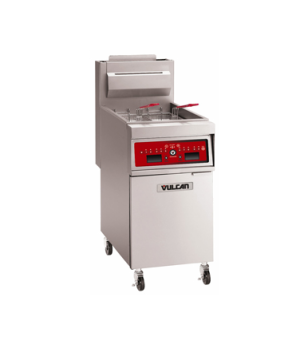 "Hi-Efficiency Gas Fryer, 21"" W, free-standing, 90,000 BTU, stainless steel cabin"