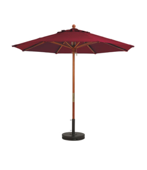 "Market Umbrella, 7 ft, 1-1/2"" wooden pole, Outdura fabric, burgundy"