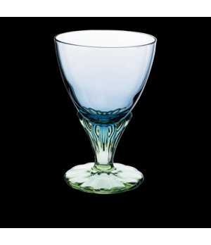 "Dessert Glass, 12-1/4 oz., 4"" x 5-1/2"", decorated, lite blue/green, Bormioli, Ba"