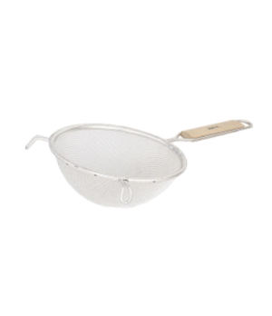 "Strainer, 6.74"" bowl, 6""L handle, double fine mesh, wood flat-bottom handle, pan"