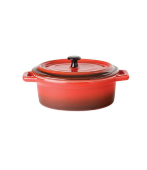 "Casserole Dish, 12.5 oz, 5"" diameter (10cm), with lid, oval, integrated handles,"