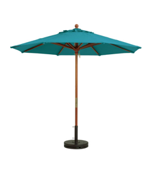 "Market Umbrella, 7 ft, 1-1/2"" wooden pole, Outdura fabric, turquoise"