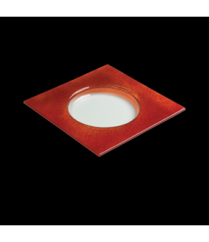 "Halo Specialty Plate, 9-1/2"", square, glass, red, Creations (USA stock item) (mi"