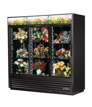 Floral Merchandiser, three-section, (6) shelves, black exterior & interior with