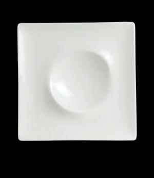"Landscape Dune Plate, 7-3/4"" square, narrow rim, porcelain, Crucial Detail (USA"
