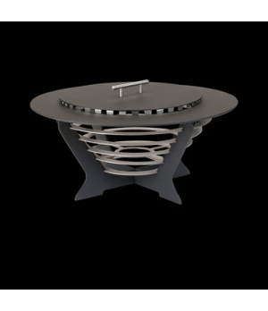 "Chafing Dish, 24"" dia., round, black with silver steps, Brand Designs, Canyons a"