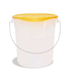 "Storage Container, with removable bail, round, 22 qt., 13-1/8"" x 14"", stackable,"