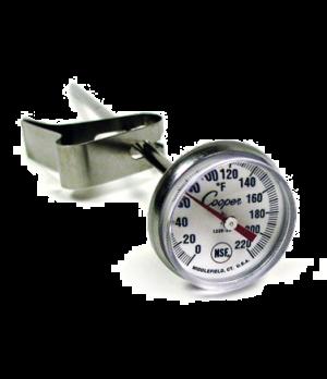"Milk Frothing Thermometer, 5"" (12.3cm) stem length, 1"" (2.54cm) dial diameter, ±"
