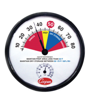 "Prep Area/ Dry Storage Thermometer, 12"" (30.5cm) dia. dial, temperature range 10"