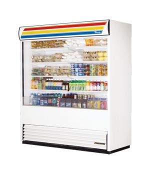 "Vertical Air Curtain Merchandiser, 72""L, 81-3/4""H, (8) adjustable white cantilev"