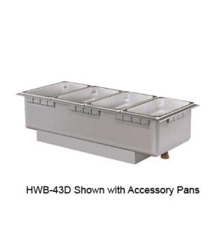 Built-In Heated Well, rectangular, with drain, (4) 1/3 size pan cap., top mounte