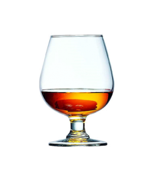 "Brandy Glass, 12 oz., fully tempered, glass, Arcoroc, Excalibur (H 5-1/4""; T 2"";"