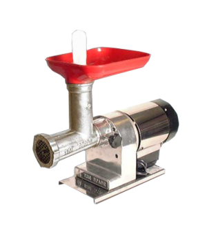 (11004) Meat Grinder, electric, #12 head, plastic tray, polished aluminum body,