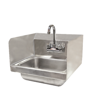"(37867) Hand Sink, wall mount, 10"" x 14"" x 6"" bowl, 4"" gooseneck faucet, side sp"