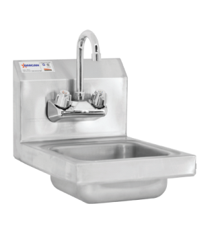 """Hand Sink, wall-mount, 9"""" x 9"""" x 5"""" bowl, 18 gauge stainless steel wall mounted"""