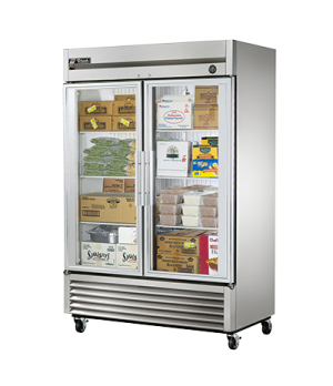 Freezer, Reach-in, -10° F, two-section, glass doors, stainless steel front, alum
