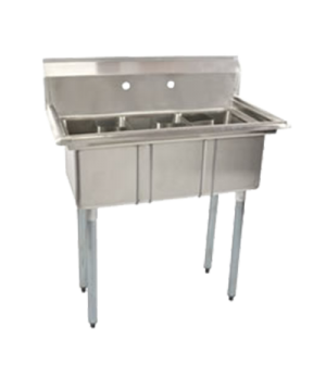 "(43758) Sink, 43-3/4"" H x 35-1/8""W x 19-1/2""D, (3) compartment 10"" x 14"" x 10"","