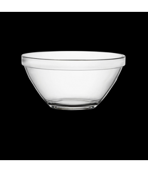 "Bowl, 35 oz., 7"" dia. x 3-1/2""H, round, stackable, tempered, glass, clear, Bormi"