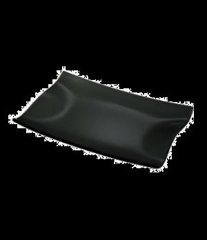"Plate, 12-5/8"" x 8-1/4"", rectangular, glass, black, Cera"