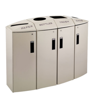 Element Paper/Bottles/Trash/Cans Recycling Container, 4 stream, 57 gallons, lock