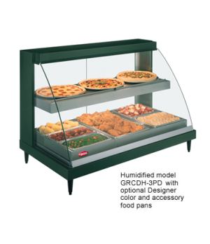 Glo-Ray® Designer Heated Display Case with Humidity, Curved Glass, countertop de