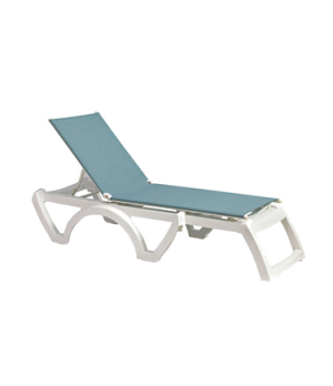 Calypso chaise, stackable, without arms, adjustable sling, white frame, power wa