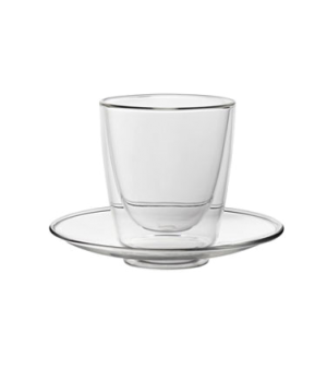 "Cappuccino Set, cup 7.75 oz (229mL), with 8"" diameter saucer, double-walled, dur"