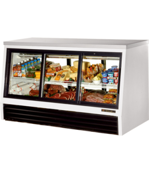 Low-Height Deli Case, pass-thru, stainless steel top, (3) Low-E glass doors fron