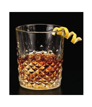"Carats Glass,12 oz., glass, clear (H 4-1/8""; T 3-1/2""; B 2-7/8""; D 3-1/2"")"