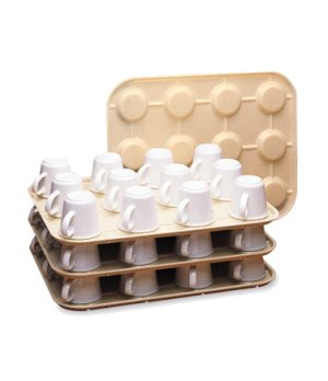 "Kup Keeper, 13-15/16"" x 17-7/8"", holds 12 cups, stackable, Regal plastic, beige"