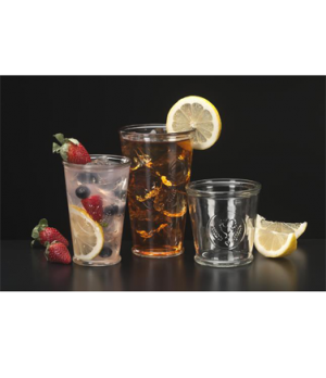 "Juice Glass, 9 oz., glass, Farmhouse (H 4-1/8""; T 3-1/4"" B 2-3/8"" D 3-1/4"")"