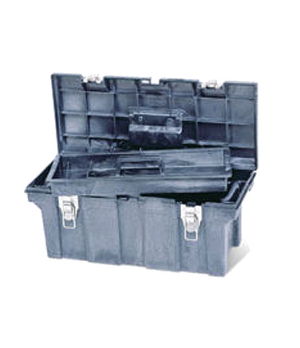 "Tool Box, 26""L x 11-1/2""W x 11-1/8""H, removable trays, plastic construction, bla"