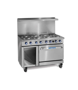 "Restaurant Range, electric, 48"", (8) round elements, (1) standard oven, (1) open"
